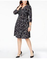 Anne Klein - Black Plus Size Printed Twist-front Dress - Lyst