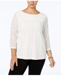 Charter Club   White Boat-neck Lace Top, Only At Macy's   Lyst
