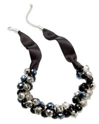 INC International Concepts | Black Necklace, Silver-tone Jet Bead Cluster Frontal Necklace | Lyst