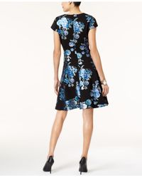 Alfani - Blue Printed Fit & Flare Dress - Lyst