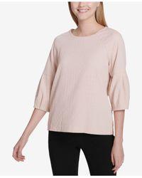 Calvin Klein - Pink Textured 3/4-sleeve Top - Lyst
