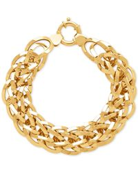 Macy's - Metallic Interlock Oval Link Bracelet In 14k Gold - Lyst
