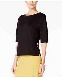 Kasper - Black Plus Size Button-side Top - Lyst