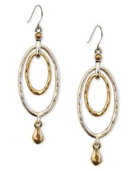 Lucky Brand   Metallic Earrings, Two-tone Oval Orbital Drop Earrings   Lyst