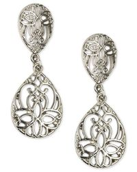 Charter Club - Metallic Silver-tone Filigree Drop Earrings, Created For Macy's - Lyst