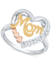Macy's - Metallic Diamond Mom Heart Ring (1/10 Ct. T.w.) In Sterling Silver & Gold- And Rose Gold-plate - Lyst