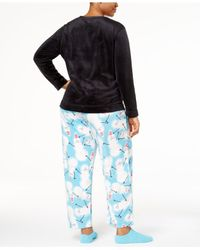 f989c1bdff992a Lyst - Hue Plus Size Sueded Fleece Top & Printed Pants With Socks ...