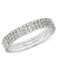 2028 | Metallic Bracelet, A Macy's Exclusive Style, Silver-tone Clear Crystal Stretch Bracelet, A Macy's Exclusive Style | Lyst