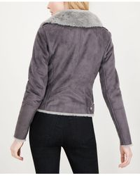 Maison Jules - Gray Faux-suede Faux-fur Moto Jacket, Created For Macy's - Lyst