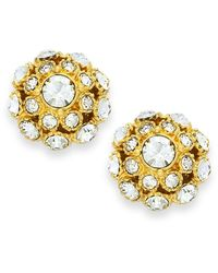 kate spade new york   Metallic Earrings, 12k Gold-plated Crystal Ball Stud Earrings   Lyst