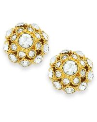 kate spade new york | Metallic Earrings, 12k Gold-plated Crystal Ball Stud Earrings | Lyst