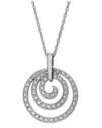 Macy's | Metallic Diamond Swirl Pendant Necklace In Sterling Silver (1/6 Ct. T.w.) | Lyst