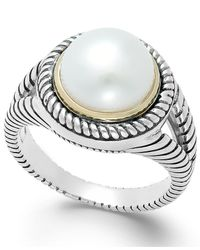 Macy's - Metallic Cultured Freshwater Pearl Rope Ring In Sterling Silver And 14k Gold (10mm) - Lyst