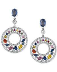 Macy's - Blue Multi-sapphire (4-2/3 Ct. T.w.) And Diamond (1-1/4 Ct. T.w.) Gypsy Hoop Earrings In 14k White Gold - Lyst