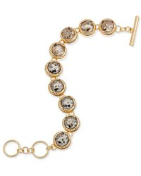 ABS By Allen Schwartz - Metallic Gold-tone Crystal Toggle Bracelet - Lyst