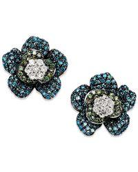 Wrapped in Love - Metallic Blue And Green Diamond (1 Ct. T.w.) Flower Earrings In 14k White Gold - Lyst