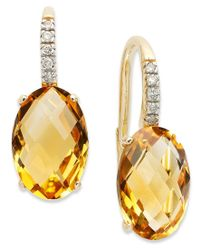 Macy's | Metallic 14k Gold Earrings, Citrine (6 Ct. T.w.) And Diamond Accent Oval Leverback Earrings | Lyst
