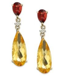 Macy's | Metallic 14k Gold Earrings, Citrine (5 Ct. T.w.), Garnet (1 Ct T.w.) And Diamond Accent Pear Drop Earrings | Lyst