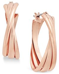 Charter Club | Metallic Rose Gold-tone Triple Twists Hoop Earrings | Lyst