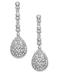 Charter Club | Metallic Silver-tone Crystal Linear Teardrop Earrings | Lyst