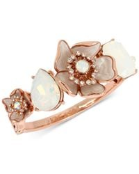 Betsey Johnson - White Rose Gold-tone Crystal & Stone Flower Bangle Bracelet - Lyst