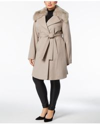 T Tahari - Brown Plus Size Faux-fur-collar Belted Wrap Coat - Lyst