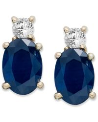 Macy's | Blue 14k Gold Earrings, Sapphire (2 Ct. T.w.) And Diamond (1/8 Ct. T.w.) Oval Earrings | Lyst