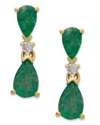 Macy's | Green 14k Gold Earrings, Emerald (1-1/5 Ct. T.w.) And Diamond Accent Pear Drop Earrings | Lyst