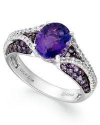 Macy's | Blue Sterling Silver Ring, Amethyst (2-1/3 Ct. T.w.) And White Topaz (3/4 Ct. T.w.) Oval Pave Ring | Lyst
