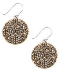 Lucky Brand | Metallic Earrings, Gold-tone Pave Disk Earrings | Lyst