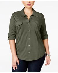Style & Co. | Green Plus Size Three-quarter-sleeve Utility Shirt | Lyst