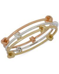 Hint Of Gold - Metallic Tri-tone Bangle Bracelet Trio - Lyst