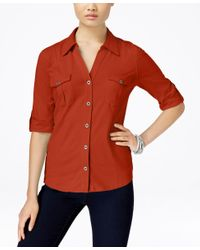 Style & Co. | Orange Utility Shirt, Only At Macy's | Lyst