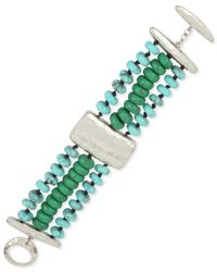 Robert Lee Morris - Green Silver-tone Beaded Triple-row Bracelet - Lyst