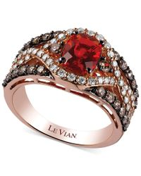 Le Vian | Brown 14k Rose Gold Ring, Fire Opal (3/4 Ct. T.w.), Chocolate (5/8 Ct. T.w.) And White Diamond (1/2 Ct. T.w.) Ring | Lyst