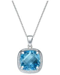 Macy's | Sky Blue Amethyst Twist Pendant Necklace In Sterling Silver (12 Ct. T.w.) | Lyst