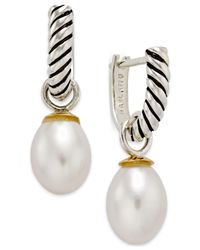 Macy's - Metallic Cultured Freshwater Pearl (7mm) Hoop Earrings In 14k Gold And Sterling Silver - Lyst
