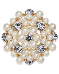 Charter Club - Metallic Gold-tone Crystal & Imitation Pearl Flower Pin, Created For Macy's - Lyst