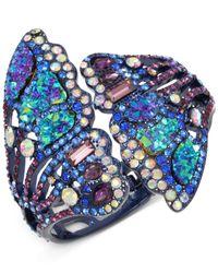 Betsey Johnson - Blue Purple-tone Multicolor Pavé Butterfly Wing Hinged Cuff Bracelet - Lyst