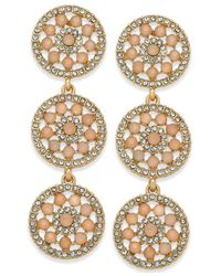 INC International Concepts - Pink Pavé & Colored Stone Flower Triple Drop Earrings, Created For Macy's - Lyst
