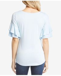 Karen Kane - Blue Ruffle-sleeve Top - Lyst