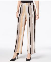 Nine West - Natural Abstract-stripe Wide-leg Trousers - Lyst