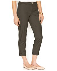 Maison Jules - Green Cropped Straight-leg Pants - Lyst