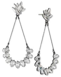 ABS By Allen Schwartz | White Hematite-tone Crystal Drop Earrings | Lyst