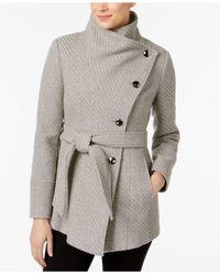 INC International Concepts - Gray Asymmetrical Belted Knit Walker Coat - Lyst