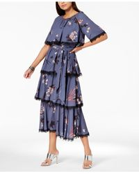 Avec Les Filles - Blue Tiered-ruffle Georgette-overlay Midi Dress - Lyst