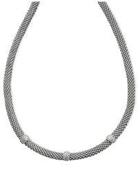Macy's - Metallic Diamond Mesh Necklace In Sterling Silver (1/4 Ct. T.w.) - Lyst