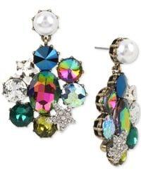 Betsey Johnson - Blue Gold-tone Multi-stone & Imitation Pearl Drop Earrings - Lyst
