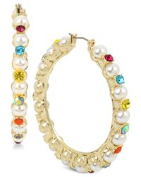 Betsey Johnson - Metallic Gold-tone Multicolor Stone & Imitation Pearl Hoop Earrings - Lyst