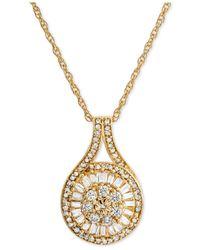 Macy's - Metallic Diamond Baguette Cluster Pendant Necklace (1/2 Ct. T.w.) - Lyst
